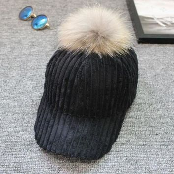 Winter Warm Unisex Snapback Hats Women Faux Fur Ball Women Men Stretch Baseball Cap Adjustable bone 50cm~66cm