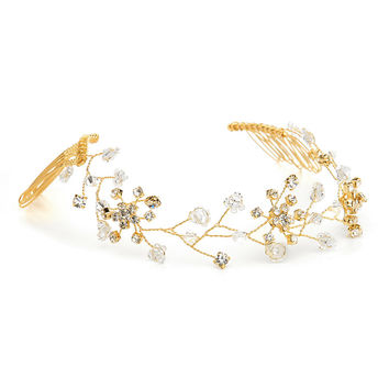 Swarovski Crystal Bridal Hair Vine in Gold