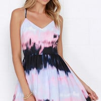 BB Dakota Zuzu Pink and Periwinkle Print Dress