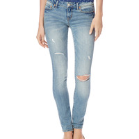 Aeropostale  Womens Skinny Destroyed Light Wash Jeans