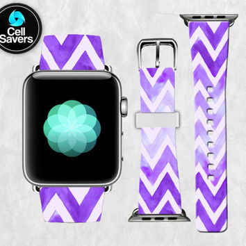 Purple Chevron Pattern Watercolor Paint Line Tumblr New Apple Watch Band Leather Strap iWatch for 42mm and 38mm Size Metal Clasp Watch Print