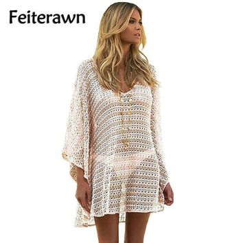 DCCK7N3 Feiterawn 2017 Women Summer Sexy Loose Knit V Neck Batwing Sleeve Bikini Swimsuit Cover up Female Beach Dress Swimwear DL42177