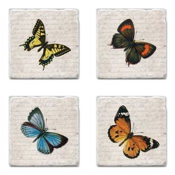 Vintage Butterflies Picture Tile