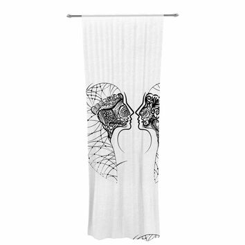 "Maria Bazarova ""Twins Minimalism"" Black White Art Deco People Illustration Vector Decorative Sheer Curtain"