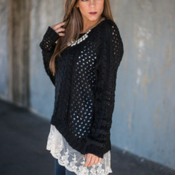 Lace Layer Sweater, Black