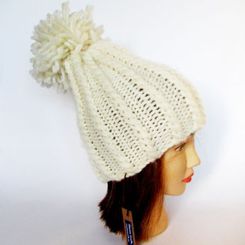 Tall hat - natural white hat - hand knit hat - chunky knit hat - pom pom hat - warm winter hat - wool knit hat with pompom - Irish knitwear