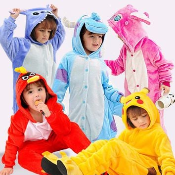 Unicorn Pajamas Kids Pyjamas Baby Boys Pajama Children Onesuit Girls Cosplay Animal Stitch Panda Pikachu Home Clothes Flannel