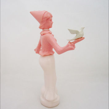 "Vintage Avon Rare Perfume Bottle in Milk Pink Glass, Avon ""Sweet Honesty"" Perfume Bottle Shaped Circus Woman with Dove"