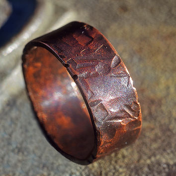 Unisex Copper Ring Band 9.5 mm - Lightly Textured, Dark Copper Wedding Band, Copper Engagement Ring, Engraved, Simple Ring, Casual Jewelry