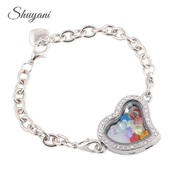 Rhinestone Heart Floating Glass Living Memory Locket Bracelet Bangle For Women men With 12pcs Heart Birthdaystone Charms