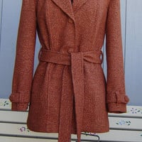 Light Rust Vintage Wool Tweed Jacket - Size 8