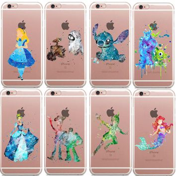 Watercolor Art Mulan Princess Soft Clear TPU Case for iPhone 7 8Plus 6 6S Plus SE 5S mermaid stitch Phone Cover For iPhone X