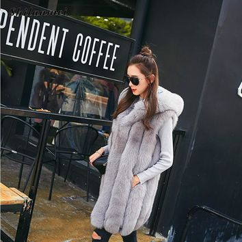 2017 Winter Faux Fur Coat Women Hooded Fur Vest With Pocket Coat coat women's long down Long Vest Sleeveless Jackets Plus Size