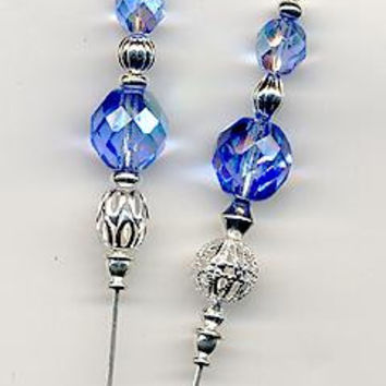 Czech Sapphire and Silver 6 inch Hatpins
