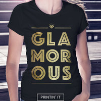 Glamorous - Glossy golden t-shirt for women - black and white  - Minimalist - Chic tee - Teenager tshirt - Boho - Chic - Urban bliss  - Dope