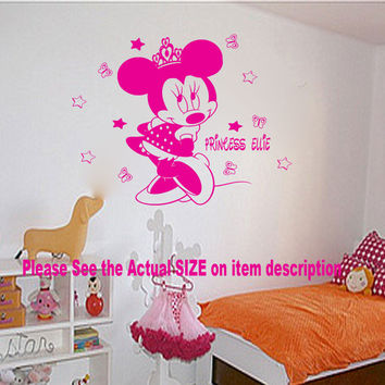 Disney Minnie Mouse Princess CROWN Bedroom Kids vinyl decal Wall Stickers D6, S-L, 500mm x 360mm