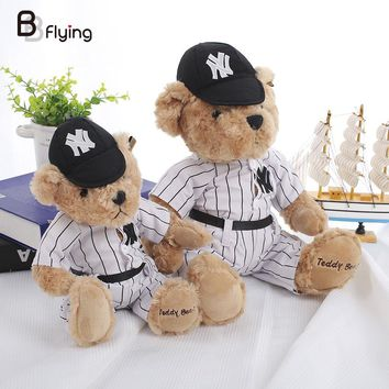 Free Shipping Teddy Bear Toy Kids Children Good Stuff Stripes Shirt Helmet Doll All Age