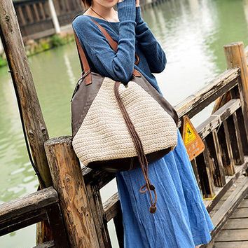Women Leather Tote Bag, Large Soft Leather Bag, Distressed Leather Bag,Handwoven bag