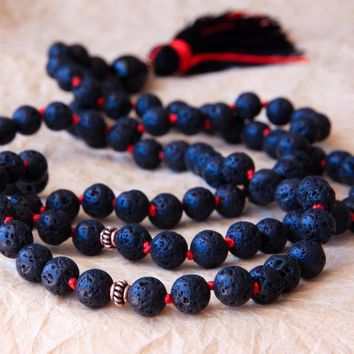 Knotted Necklace 8MM Lava Stone Necklace Long tassel Necklaces Knotted Prayer Beads 108 Mala Necklaces Buddhist Beads