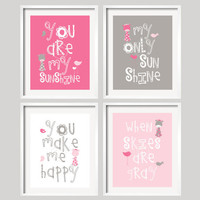 Giraffe Art Print  -  You Are My Sunshine - Pink and Grey Giraffes and birds- 8x10 wall art, baby shower gift, boy and girl colors