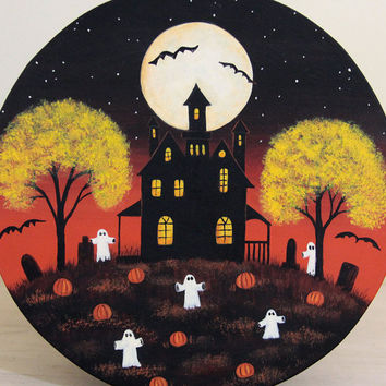 Folk Art Halloween Painting - MADE TO ORDER - Hand Painted Primitive Wooden Plate, Ghosts, Spooky Mansion, Pumpkins, Full Moon, Bats