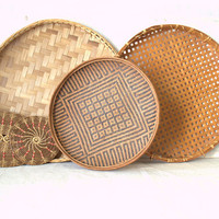 Woven Wall Basket Collection,  Wicker Wall Baskets
