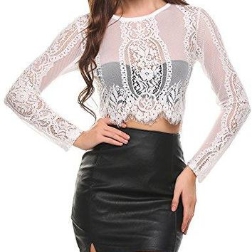 UNibelle Womens Fashion Slim Fit Lace Long Sleeve Sexy Sheer Blouse Mesh Lace Crop Top Shirt