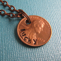 Necklace Lucky Penny Hand Stamped Necklace by by ShopTheCopperFox