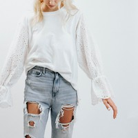 WP White Crochet Bell Sleeve Top