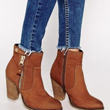 ALDO | ALDO Olenalla Zip Side Heeled Ankle Boots at ASOS