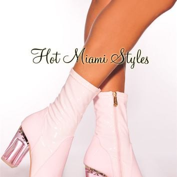 Blush Patent Clear High Heel Boots