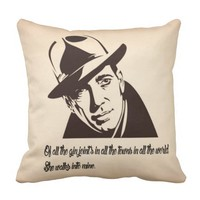 Bogart...of all the gin joints in the world throw pillow