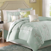 Queen size 10-Piece Floral Sea Mist Comforter Set
