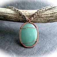 Green Aventurine Hemp Necklace, Wire Wrap Copper on Apple Green Gemstone, Natural Hemp Jewelry, Summer Style, Colourful Boho Necklace, UK