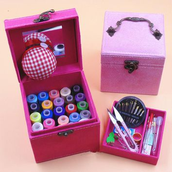 DIY Multifunction Imitation leather Box Sewing Kit Needle Tape Scissor Threads Sewing Box Wedding Gifts For Home & Travelling