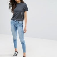 New Look Two Tone Raw Edge Skinny Jeans at asos.com