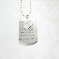 i carry your heart with me (i carry it in my heart) Hand Stamped Stainless Dog Tag Heart Necklace