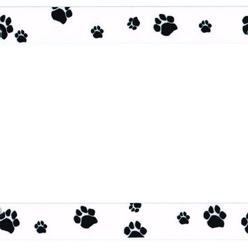 Paw Print Black Plastic License Plate Frame