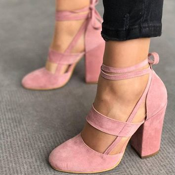 Round Toe Ankle Wrap Lace Up Chunky Heels