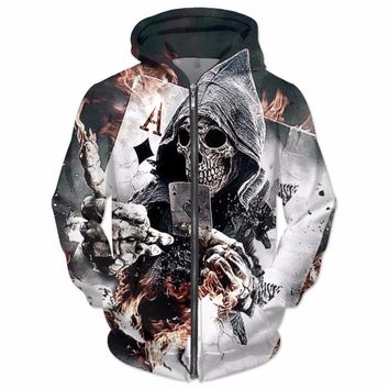 Diamonds Skull Zip-Up Hoodie Women Men 3D Hoodies funny printed sweatshirt Tops fashion loose arctic Jumper Hoody Hooded
