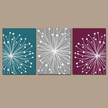 DANDELION WALL ART, Teal Maroon Gray Wall Art, Dandelion Canvas or Prints, Master Bedroom Pictures, Bathroom Decor, Set of 3 Floral Decor