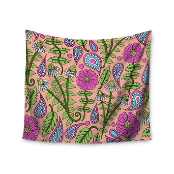 "Sarah Oelerich ""Peach Floral Paisley"" Pink Green Wall Tapestry"