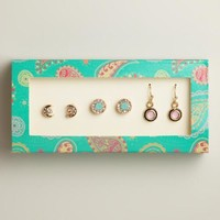 Gold Moon Stud and Dangle Earrings, Set of 3