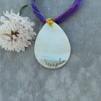 Handpainted Shell Pendant on Silk Cord, Floral Pendant, Shell Necklace, Silk Cord, Shell Design, Flower Theme, Fall Fashion, Beach Ceremony