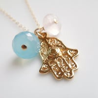 Hamsa Hand Necklace with Sky Blue Chalcedony and Rose Quartz