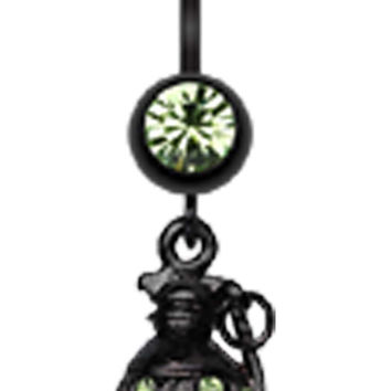 Blackline Hand Grenade Sparkle Belly Button Ring