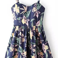 Blue Floral Printed Strappy Skater Dress