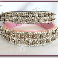 Very Large Spikes and Diamond Rhinestones Pleather Pet Dog Collar