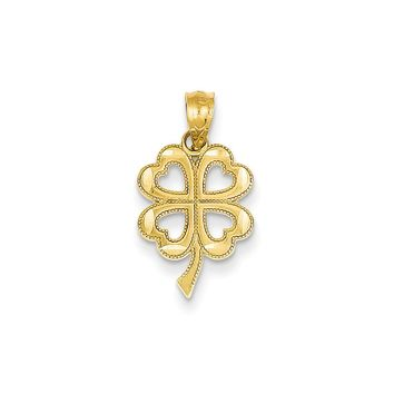 14k Yellow Gold Diamond Cut Four Leaf Clover Pendant, 11mm (7/16 inch)