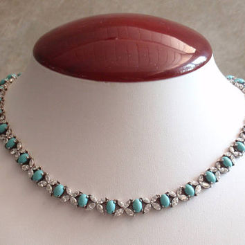 Turquoise Necklace Sterling Silver Cubic Zirconia Vintage AT0279